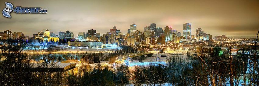 Edmonton, skyskrapor, kvällsstad, panorama