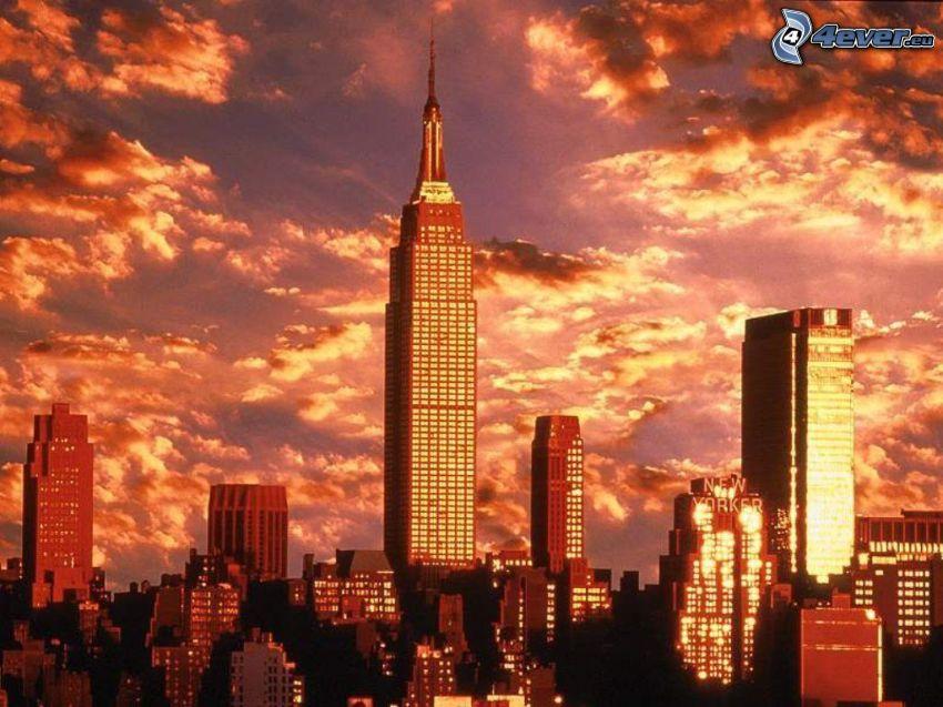 Empire State Building, New York, kvällsstad
