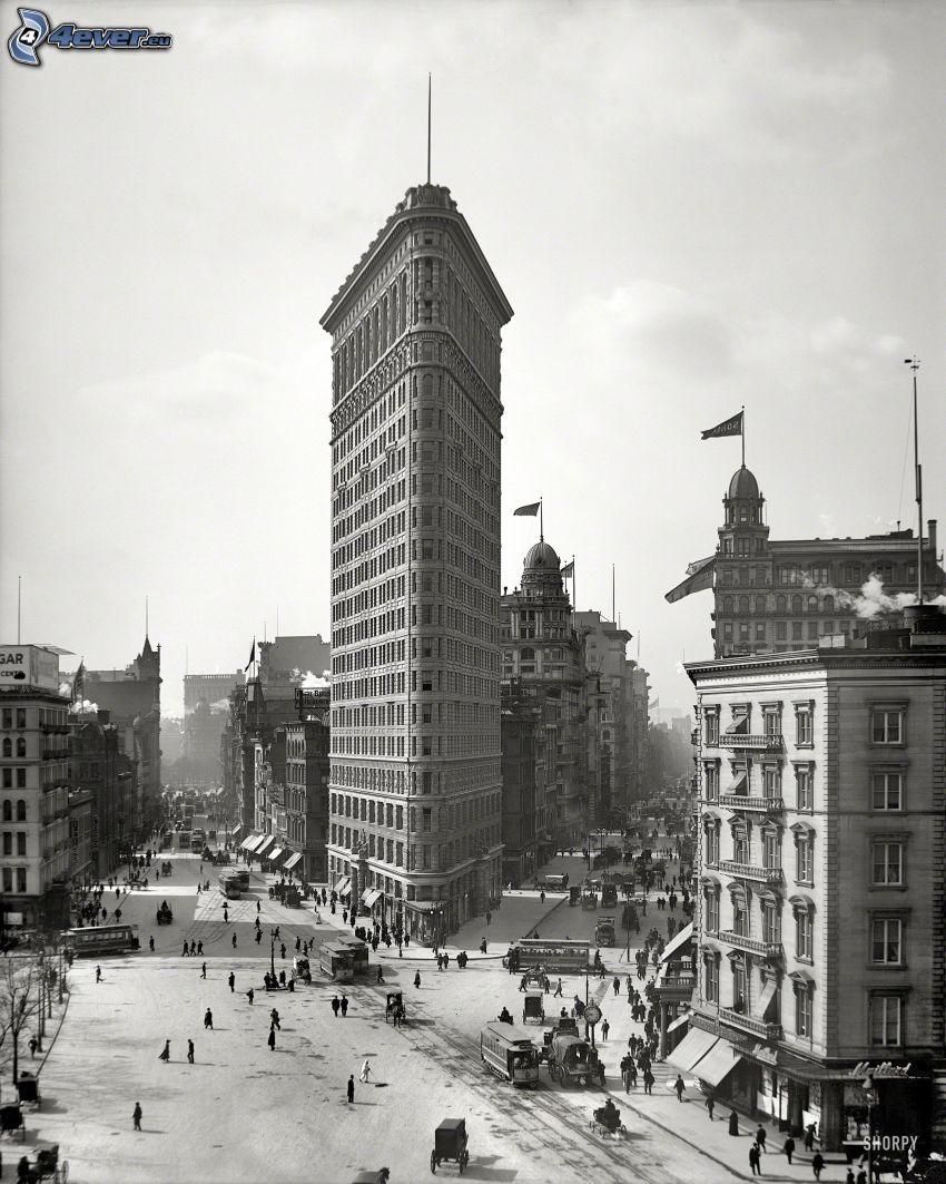 Flatiron, Manhattan, gator, svartvitt foto