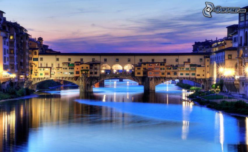 Florence, kvällsstad, flod, bro, belysning