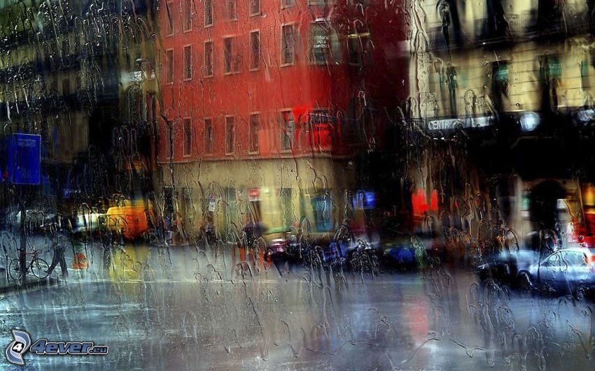 fönster, regn, gata