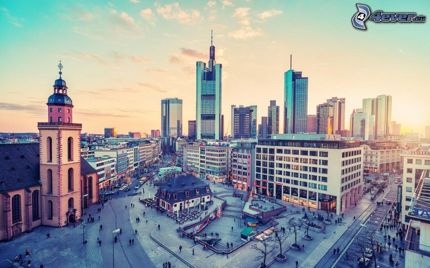 Frankfurt, skyskrapor, torg