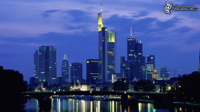 Frankfurt, Tyskland, stad, skyskrapor