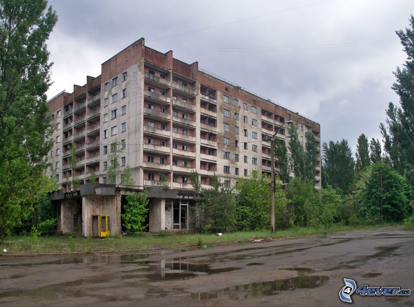 gammal byggnad, lägenheter, Pripyat