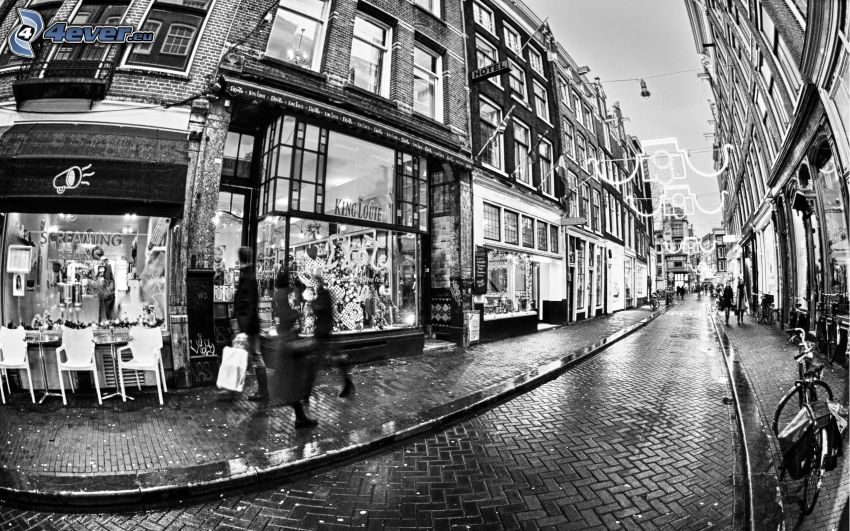 gata, Amsterdam, svart och vitt