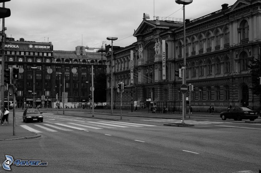 gata, historisk byggnad, svartvitt foto