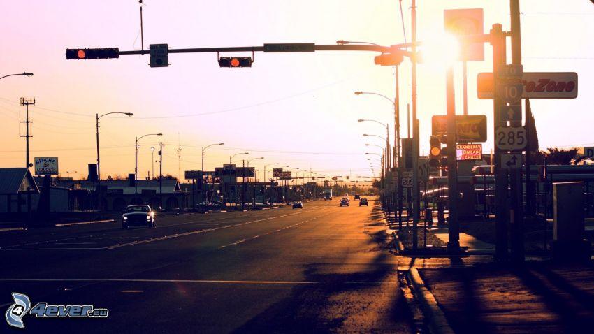 gata, trafikljus, solnedgång