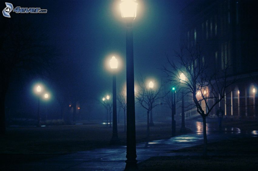 gatlyktor, natt, trottoar