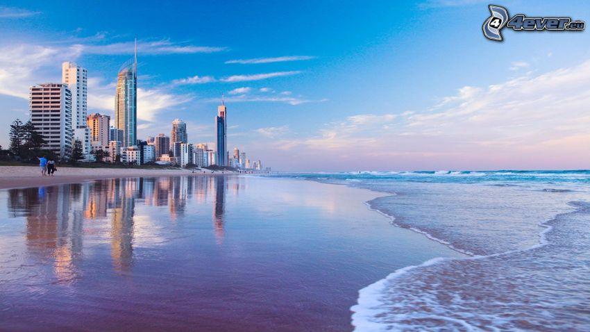 Gold Coast, hav, sandstrand, skyskrapor