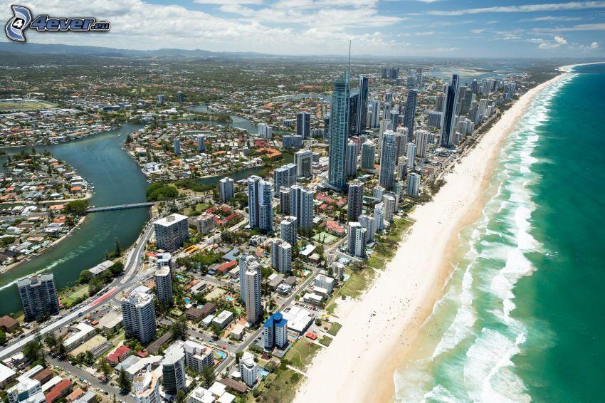 Gold Coast, skyskrapor, sandstrand, hav