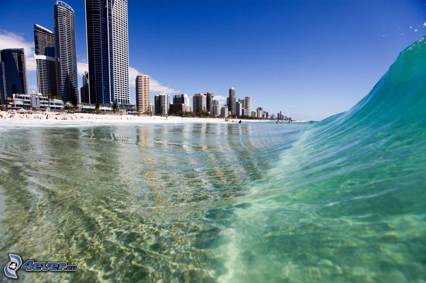 Gold Coast, våg, skyskrapor