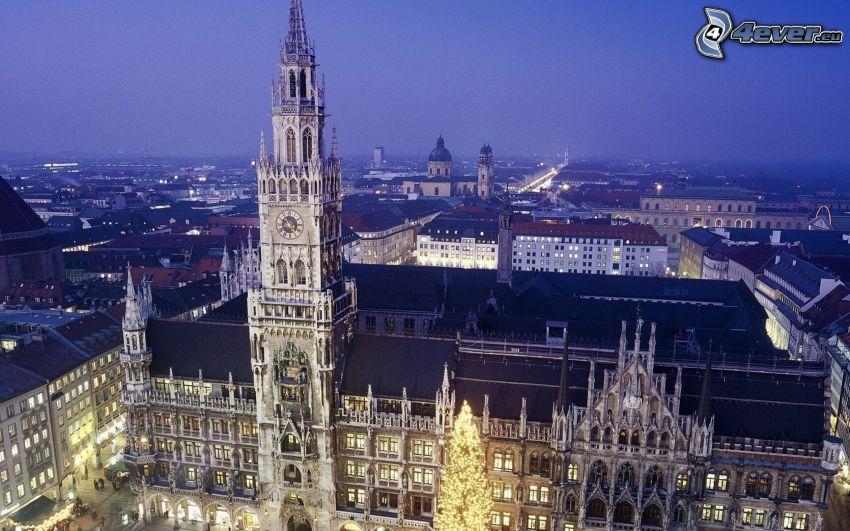 historisk byggnad, Munich, Tyskland, kväll, belysning
