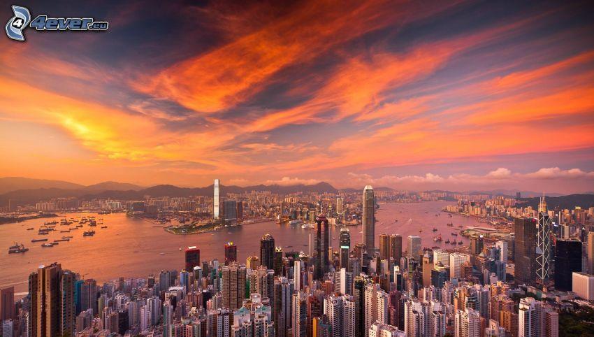 Hong Kong, skyskrapor, kvällsstad