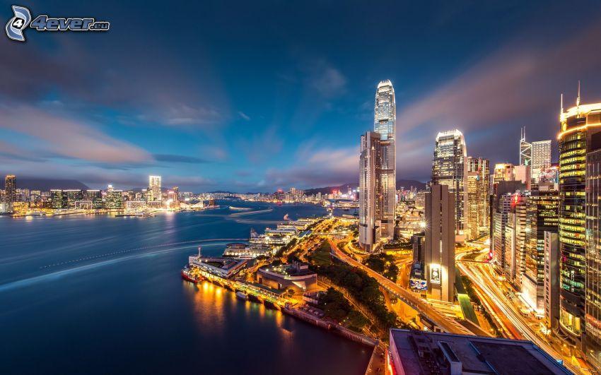 Hong Kong, skyskrapor, nattstad