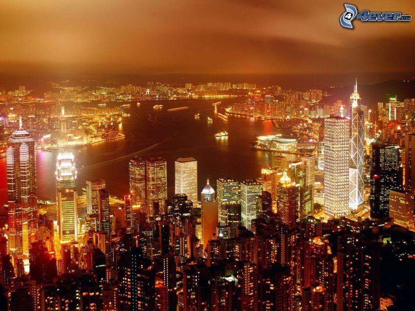 Hong Kong, stadsutsikt, skyskrapor, belysning