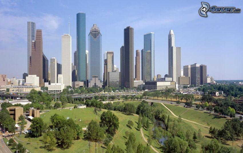 Houston, skyskrapor, park