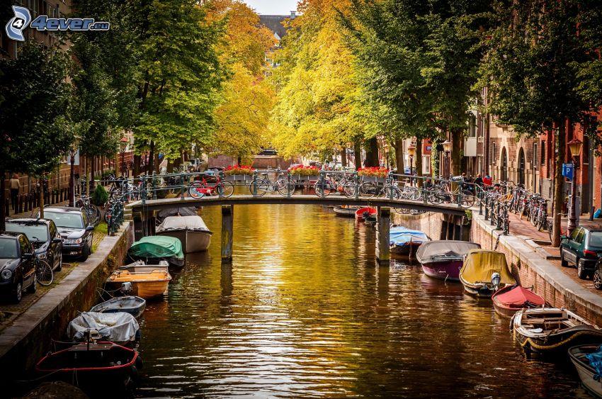 kanal, båtar, cyklar, Amsterdam