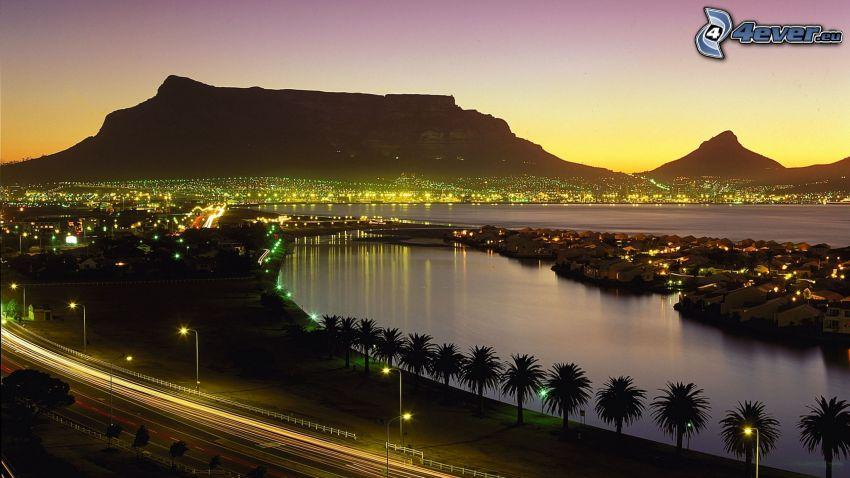 Kapstaden, badort, kvällsstad, palmer