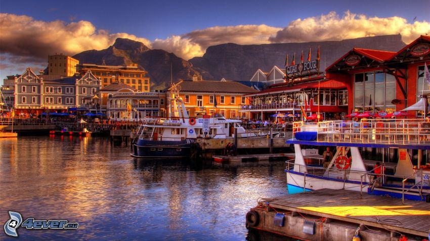 Kapstaden, hamn, klippiga berg