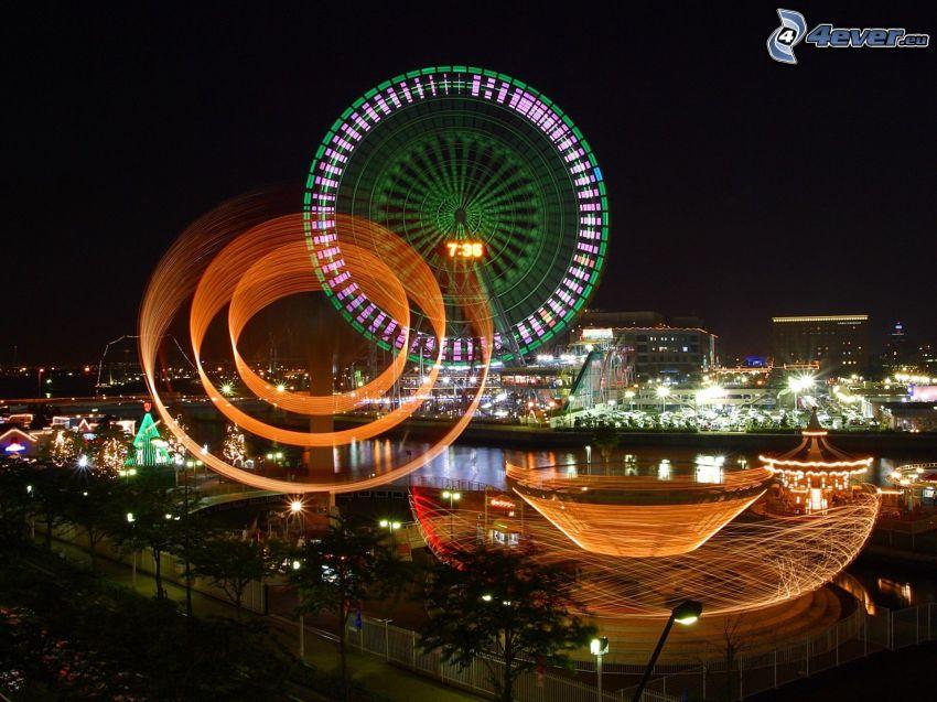 karusell, ljusspel, abstrakt, nattstad