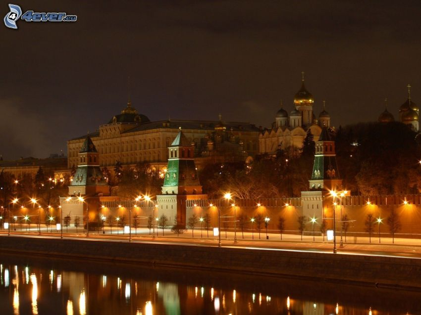 Kremlin, Moskva, Ryssland, nattstad