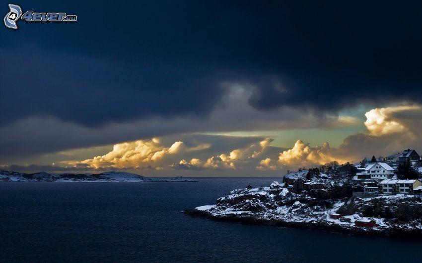 kuststad, hav, moln, himmel