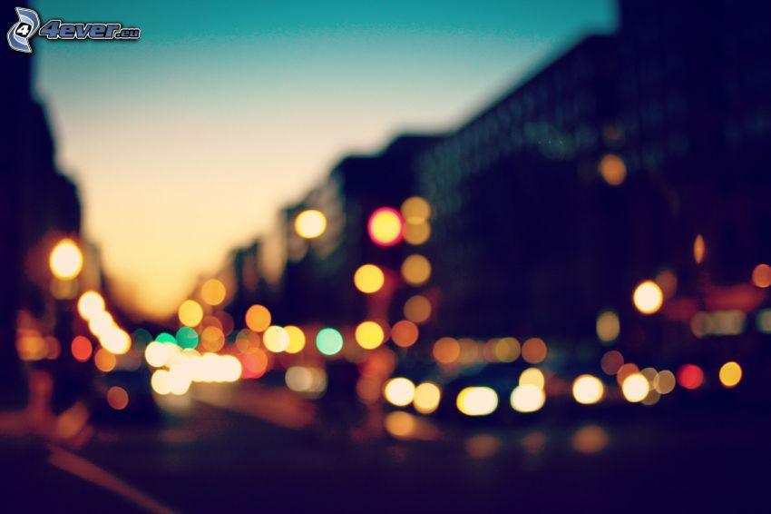 kvällsstad, ljus, ringar