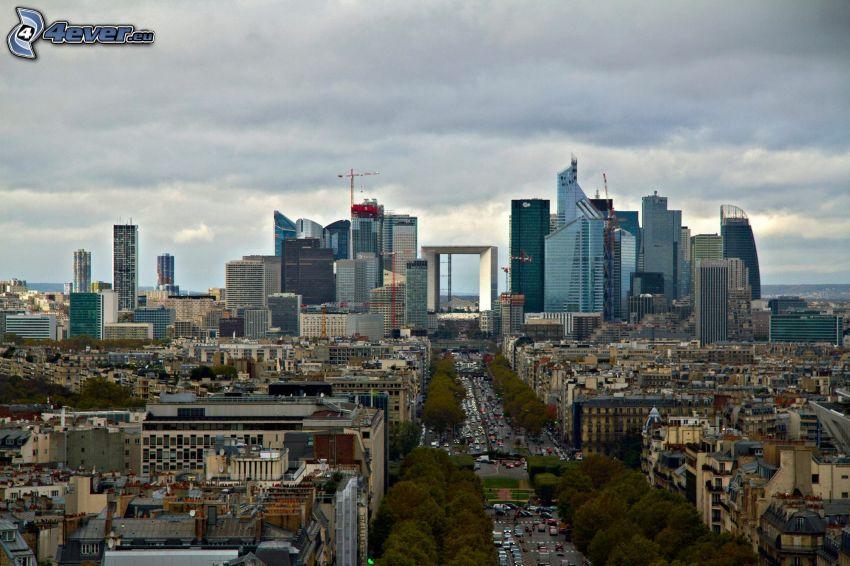 La Défense, skyskrapor, lyftkran, gata, Paris