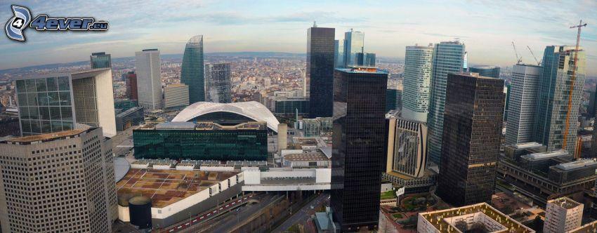 La Défense, skyskrapor, lyftkran, Paris