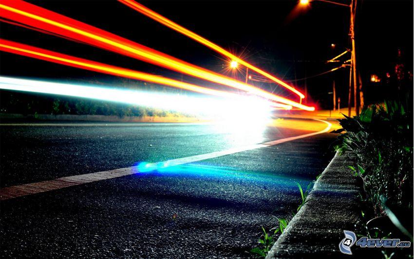 ljus, väg, natt, gatlyktor
