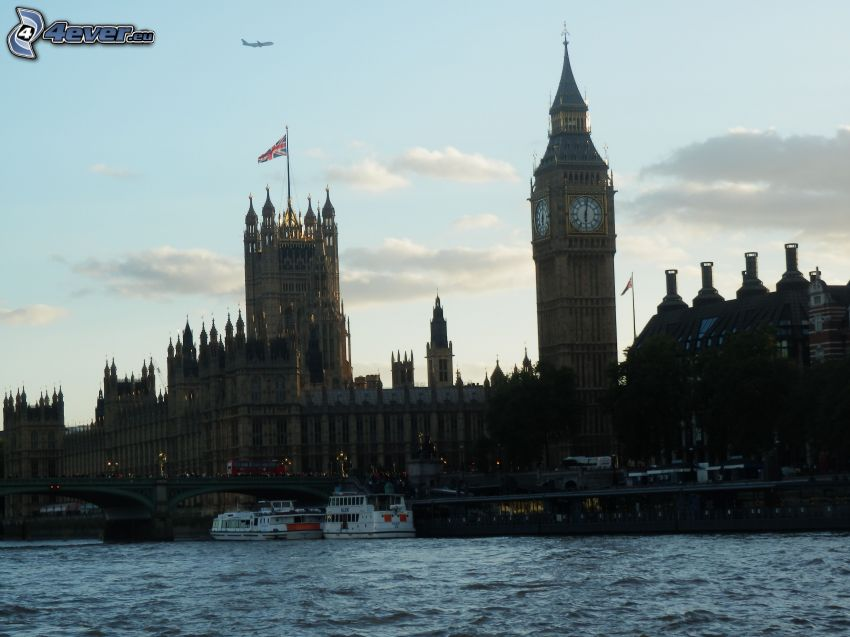 London, Big Ben, Brittiska parlamentet, Thames