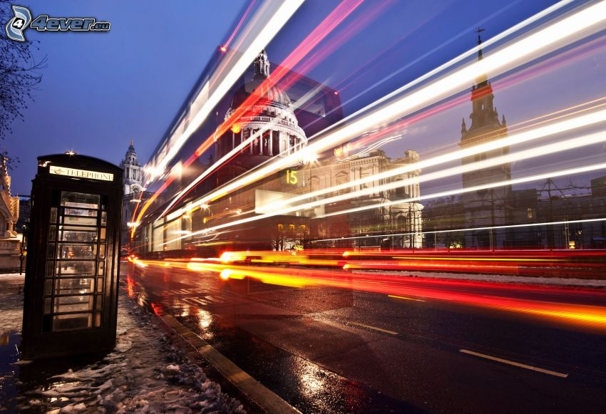 London, nattstad, ljus, telefonhytt