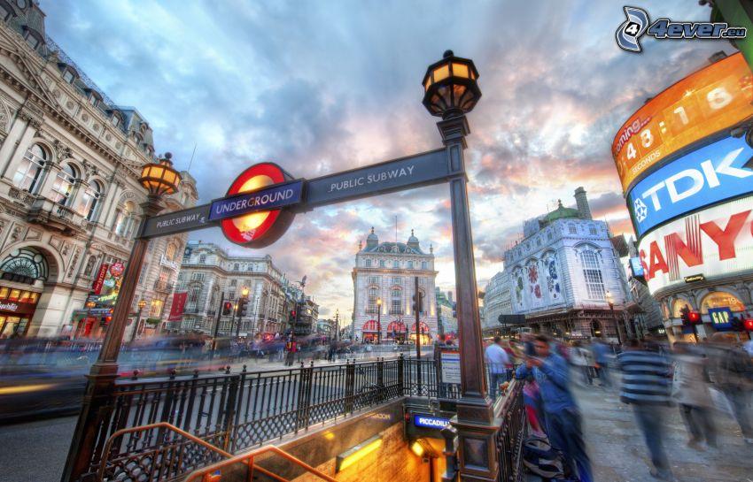 London, tunnelbanestation, HDR