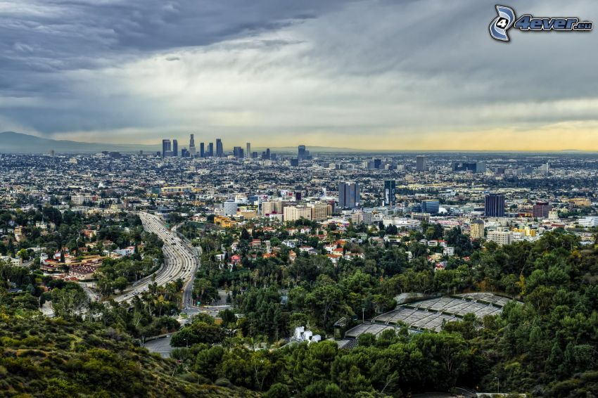 Los Angeles, motorväg, Hollywood Hills, HDR