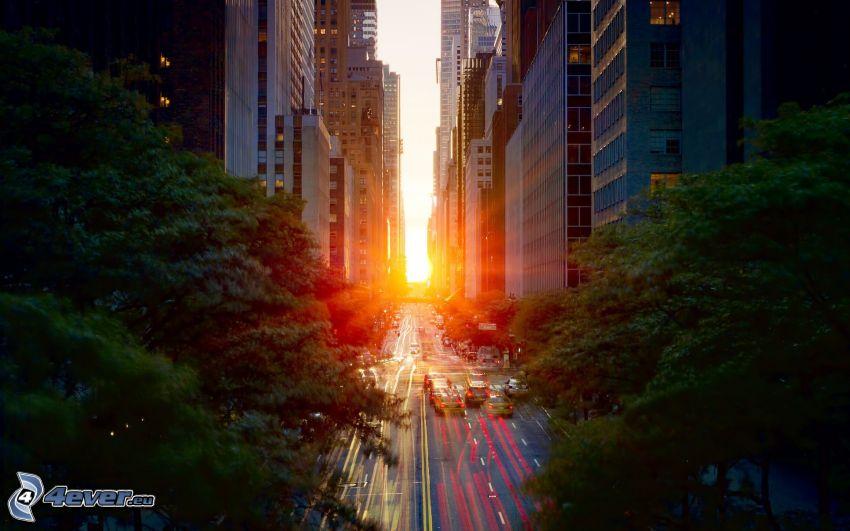 Manhattan, gata, New York, solnedgång i staden