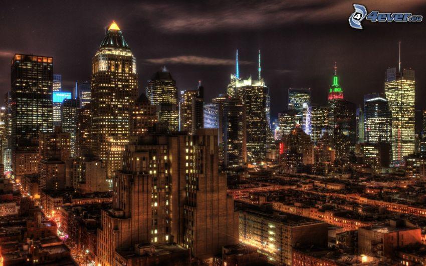 Manhattan, nattstad, skyskrapor, HDR