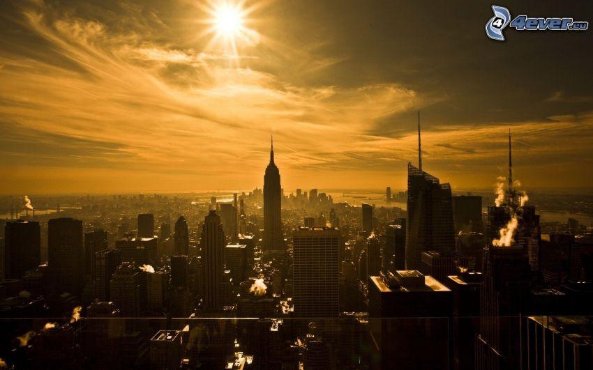 Manhattan, New York, skyskrapor, Empire State Building, sol, kvällsstad