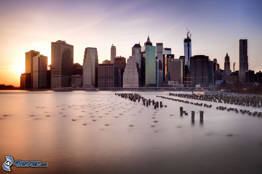 Manhattan, New York, skyskrapor, kuststad