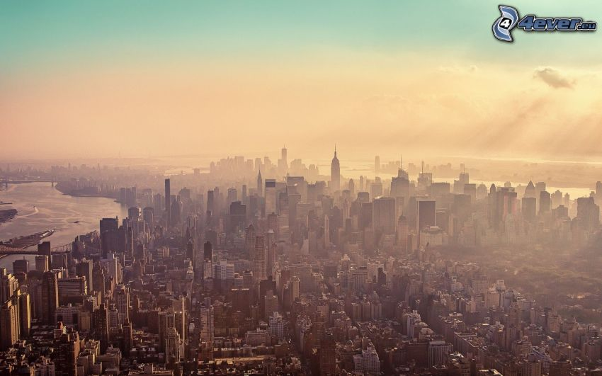 Manhattan, skyskrapor, dimma, New York