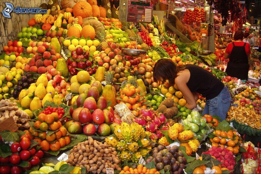 marknadsplats, frukt