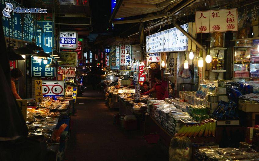 marknadsplats, Kina, natt