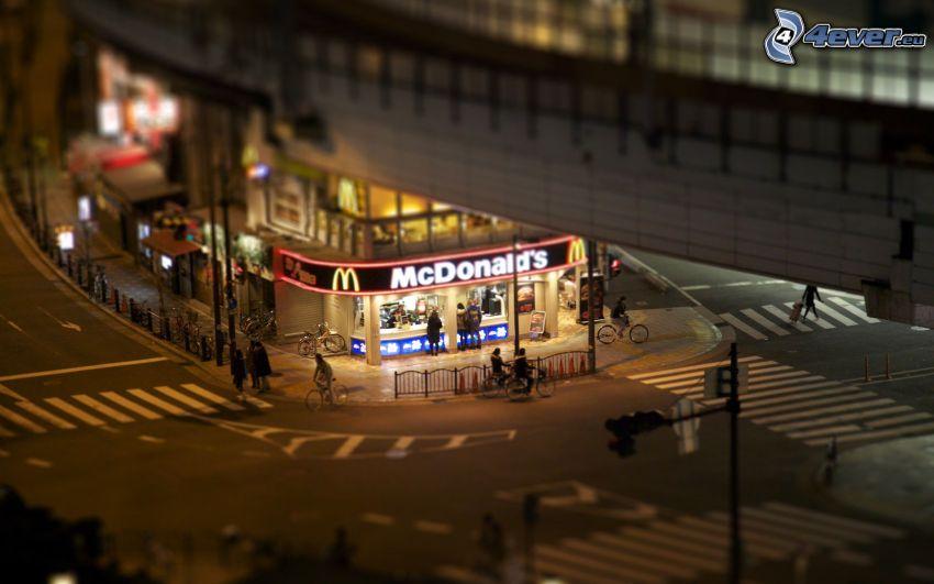 McDonald's, korsning, diorama