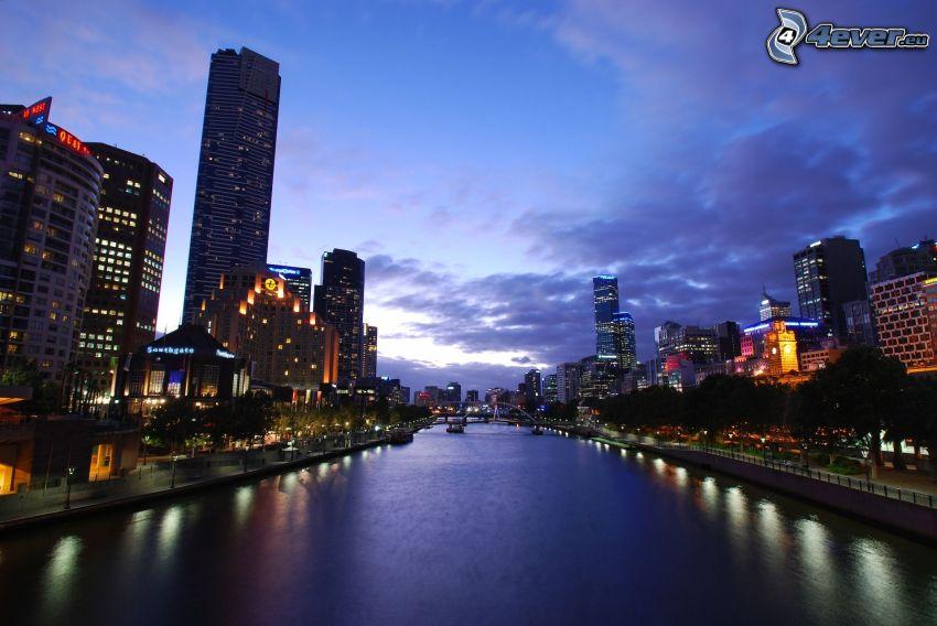 Melbourne, kvällsstad, flod, skyskrapa, byggnader