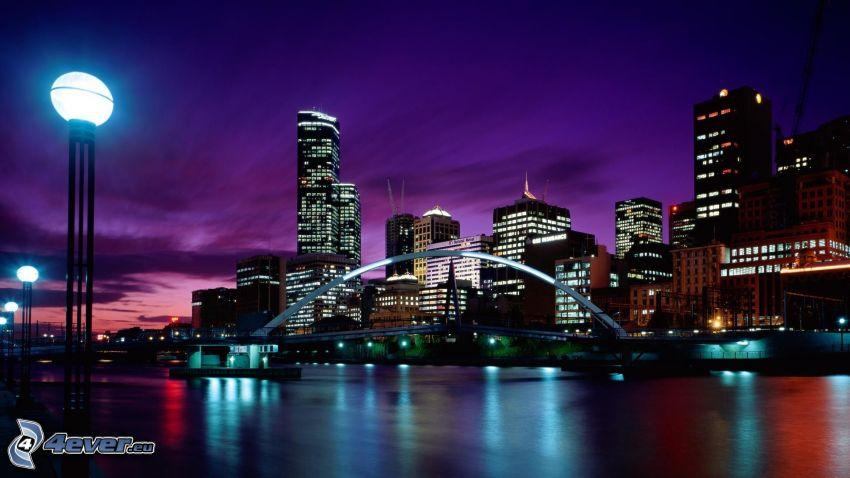 Melbourne, nattstad, skyskrapor