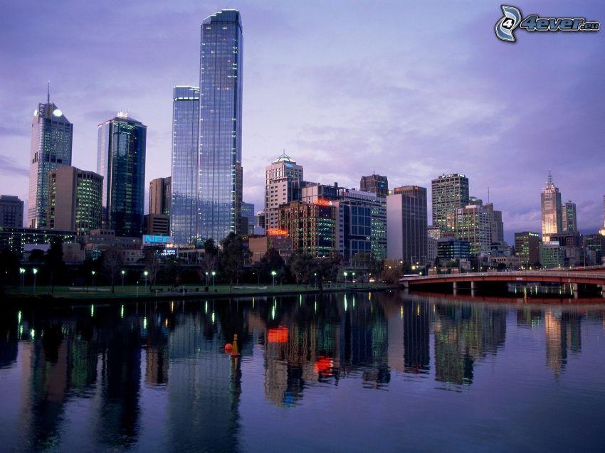 Melbourne, skyskrapa, flod