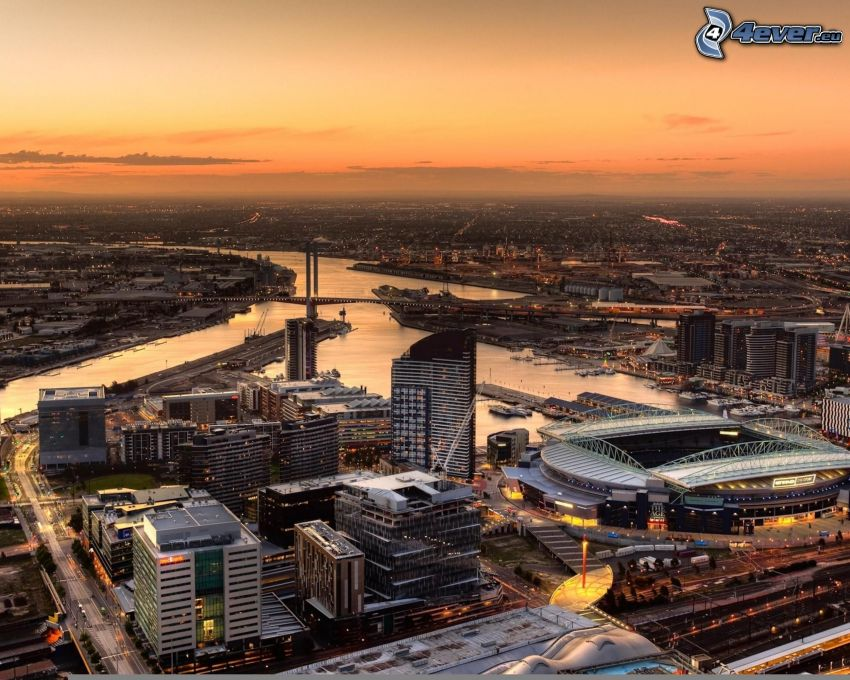 Melbourne, stad, skyskrapor, stadion, flod