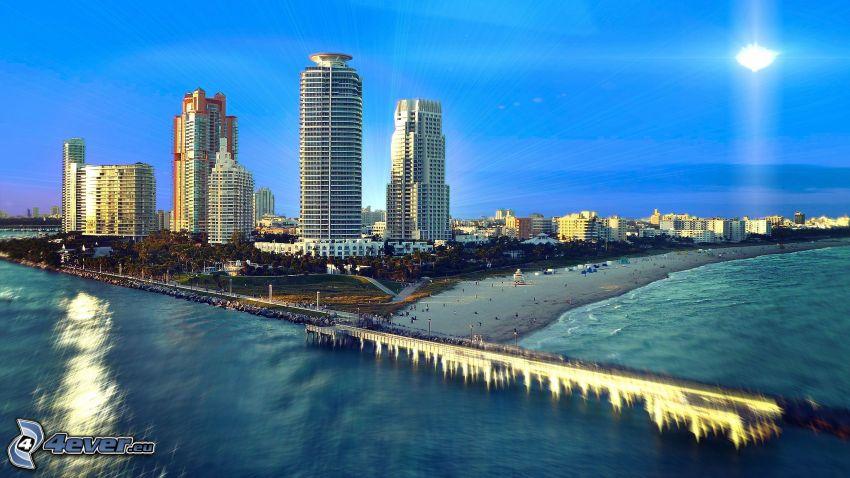 Miami, skyskrapor, hav