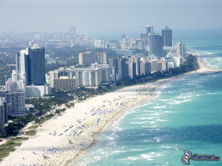 Miami, skyskrapor, strand
