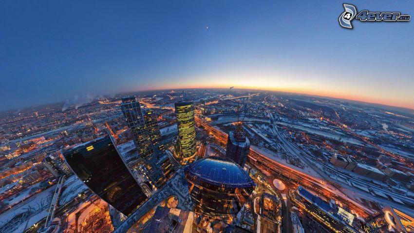 Moskva, kvällsstad, HDR