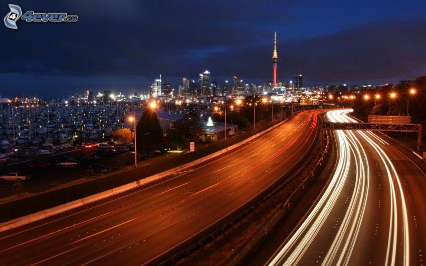 motorväg på natten, Melbourne, nattstad
